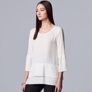 Simply Vera Vera Wang White Ruffle Layered Top; XL